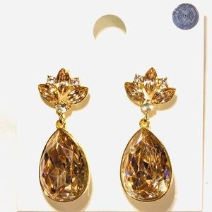 Forever 21 Champagne Crystal Teardrop Earrings